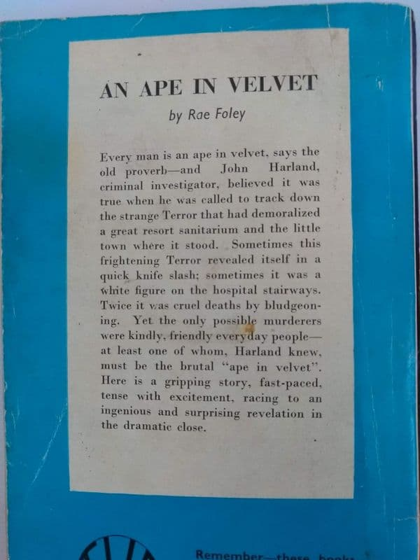Boardman books. an Ape in Velvet. (paperback) by Rae Foley.